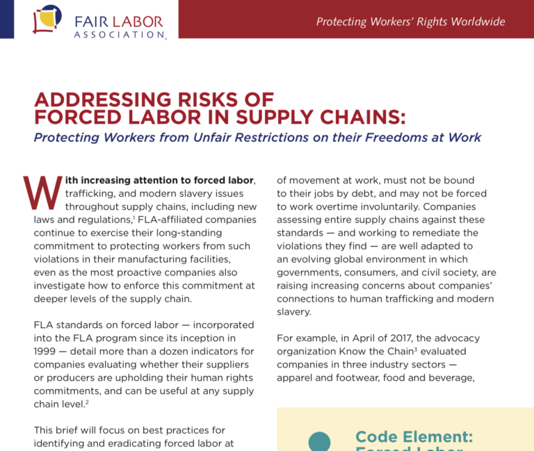 Addressing Risks of Forced Labor in Supply Chains